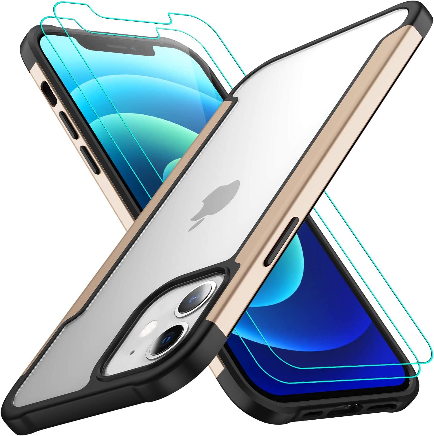 AEDILYS Compatible with iPhone 12 Mini Case (2020),[Airbag Series] with [2 x Tempered Glass Screen Protector] [ Military Grade ] | 15Ft. Drop Tested [Scratch-Resistant] 5.4 Inch (Gold)