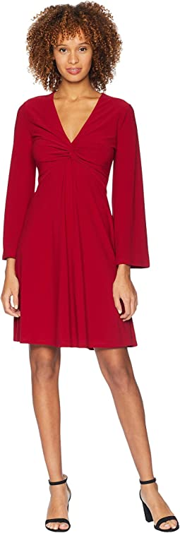 Bell Sleeve Twist Front Dress