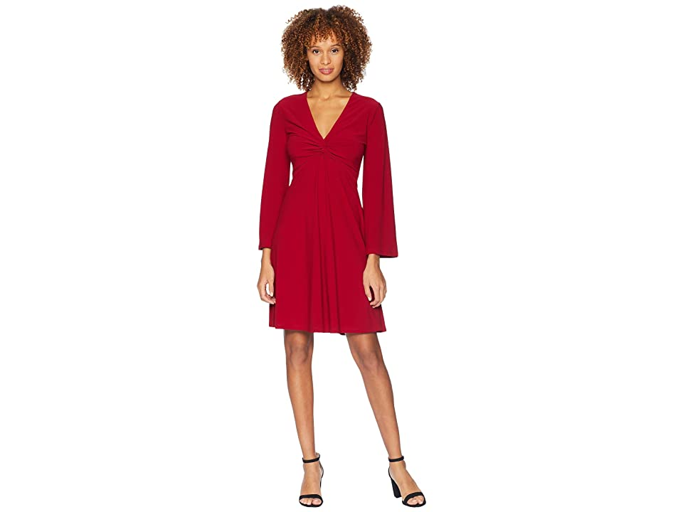 London Times Bell Sleeve Twist Front Dress (Cranberry) Women