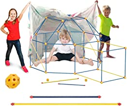 Fort Building Kit for Kids Boys Girls, WUEAOA Castle Tunnels Make Play Tent Tower, Toys for DIY Builder Indoor Outdoor, wi...