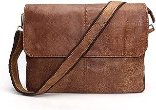 Men's Shoulder Bag Casual Messenger IPad Bag Head Oil Wax Leather (Color : Brown, Size : S)