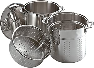 All-Clad E796S364 Specialty Stainless Steel Dishwasher Safe 12-Quart Multi Cooker Cookware Set, 3-Piece with 1 lid, Silver