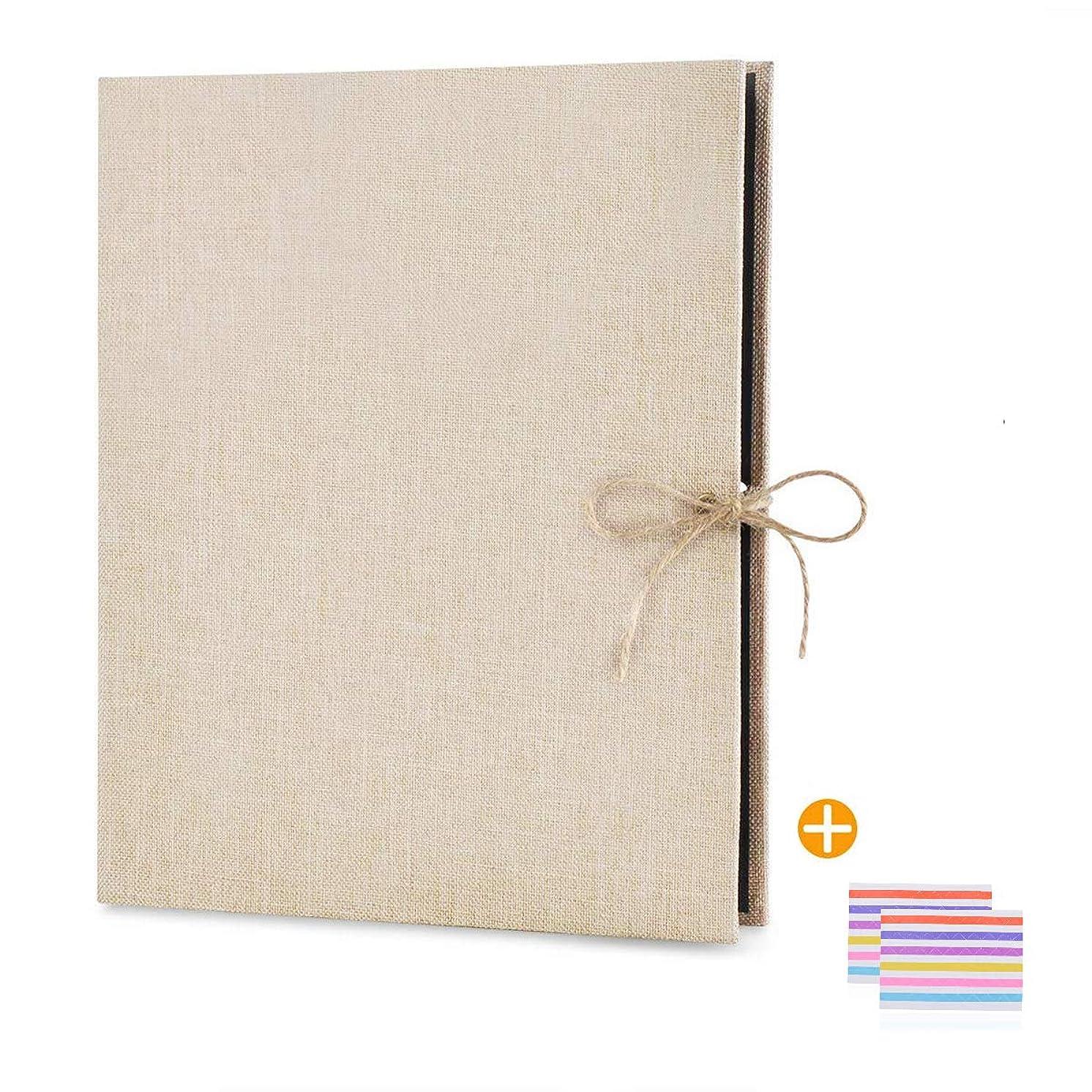 EKKONG Photo Album Scrapbook, 60 Pages Photo Album,10.4 x 8.3 inch Vintage Black Pages Memory Book,Wedding Photo Album,Anniversary Scrapbook,Travel Album (Beige)