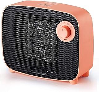 NFJ Calefactor Cerámico PTC 1500W Mini Ventilador de Calentacdor Eléctrico contra Sobrecalentamiento y Protección contra Volcado Viento Natural o Caliente para Oficinas y Hogar,Rosado