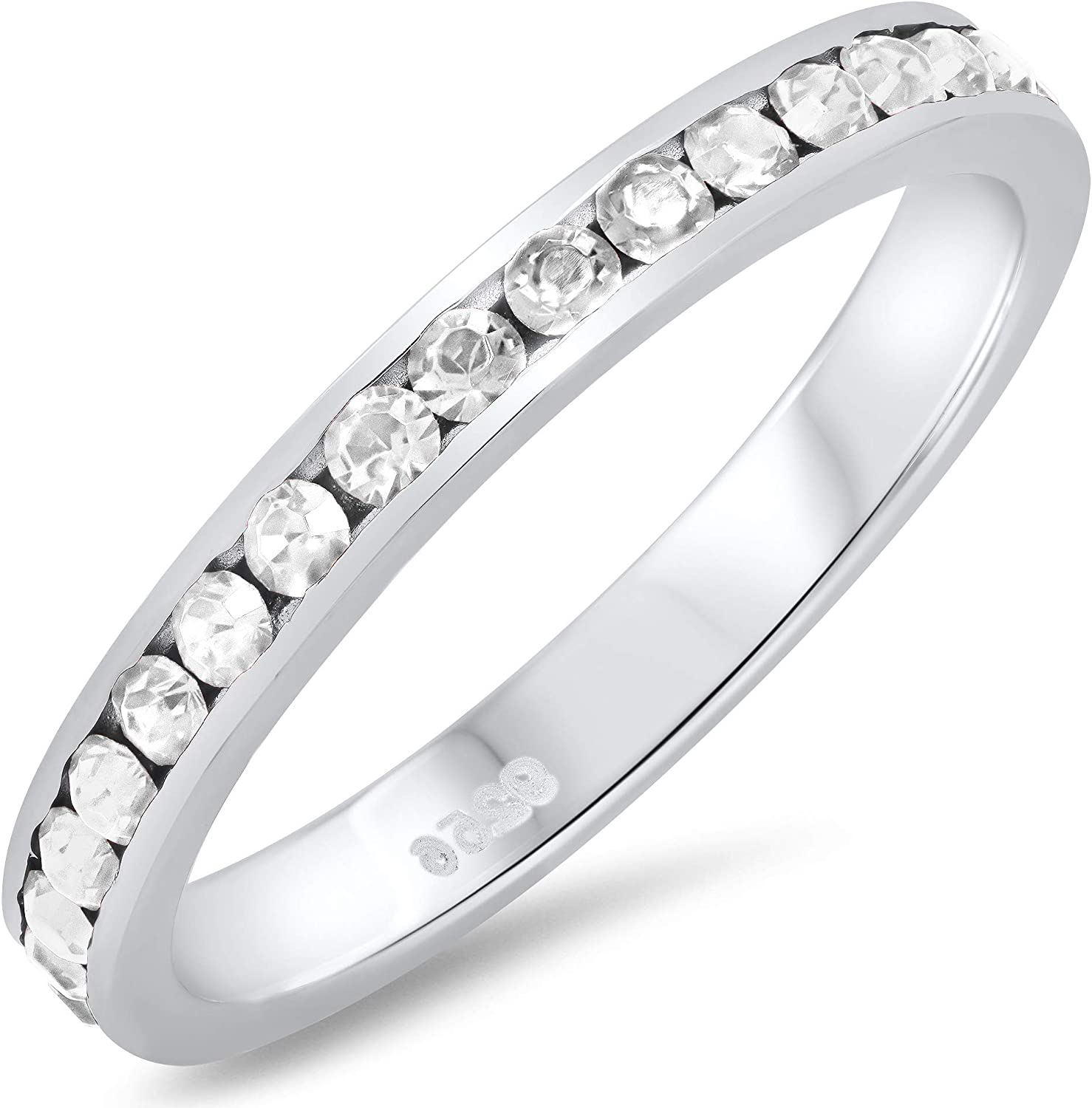 3mm Solid OFFicial Max 74% OFF shop .925 Sterling Silver Band Red Eternity Zirconia Cubic