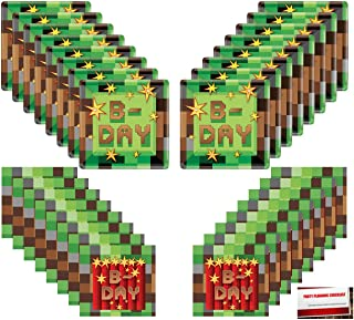 Gaming Gamer Pixel Happy Birthday Party Supplies Bundle Pack for 16 Guests (Plus 16 Pixel Stickers and Party Planning Chec...