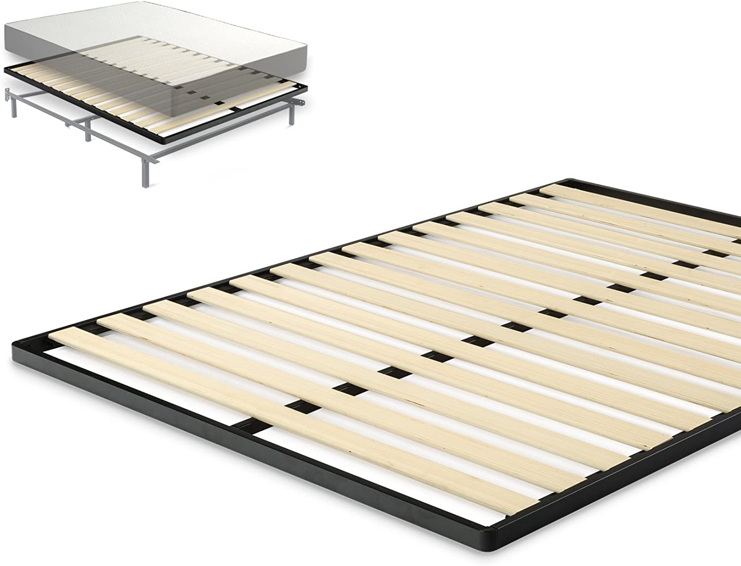Zinus OLB-QLBKW-F Easy Assembly Wood Slat 1.6 Inch Bunkie Board   Bed Slat Replacement, Full