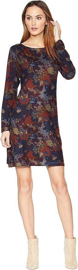 Burgundy Floral Print Dress