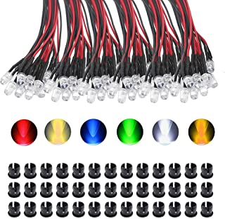 KeeYees 5mm LED プレ配線 高輝度 砲弾型LED 12V用 6色あり- ホワイト ウォームホワイト レッド ブルー グリーン イエロー 6x10個入り 専用マウントホルダー付き