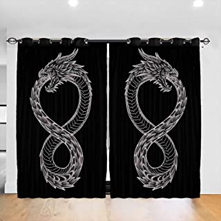 FDASLJ Customized Blackout Window Curtains Ouroboros Takeshi Kovacs Tattoo Altered Carbon Grommet Thermal Insulated Room Darkening Drape for Bedroom Living Room 52 X 72 Inch, 2 Panels