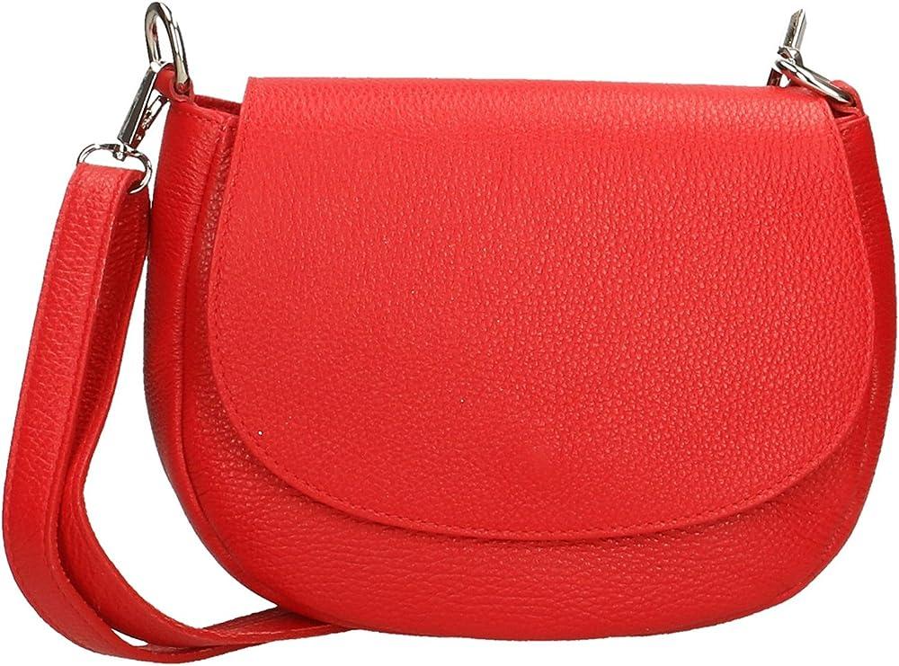 Aren crossbody clutch,  borsa a tracolla da donna, in vera pelle,  made in italy AR_3309-ROSSO