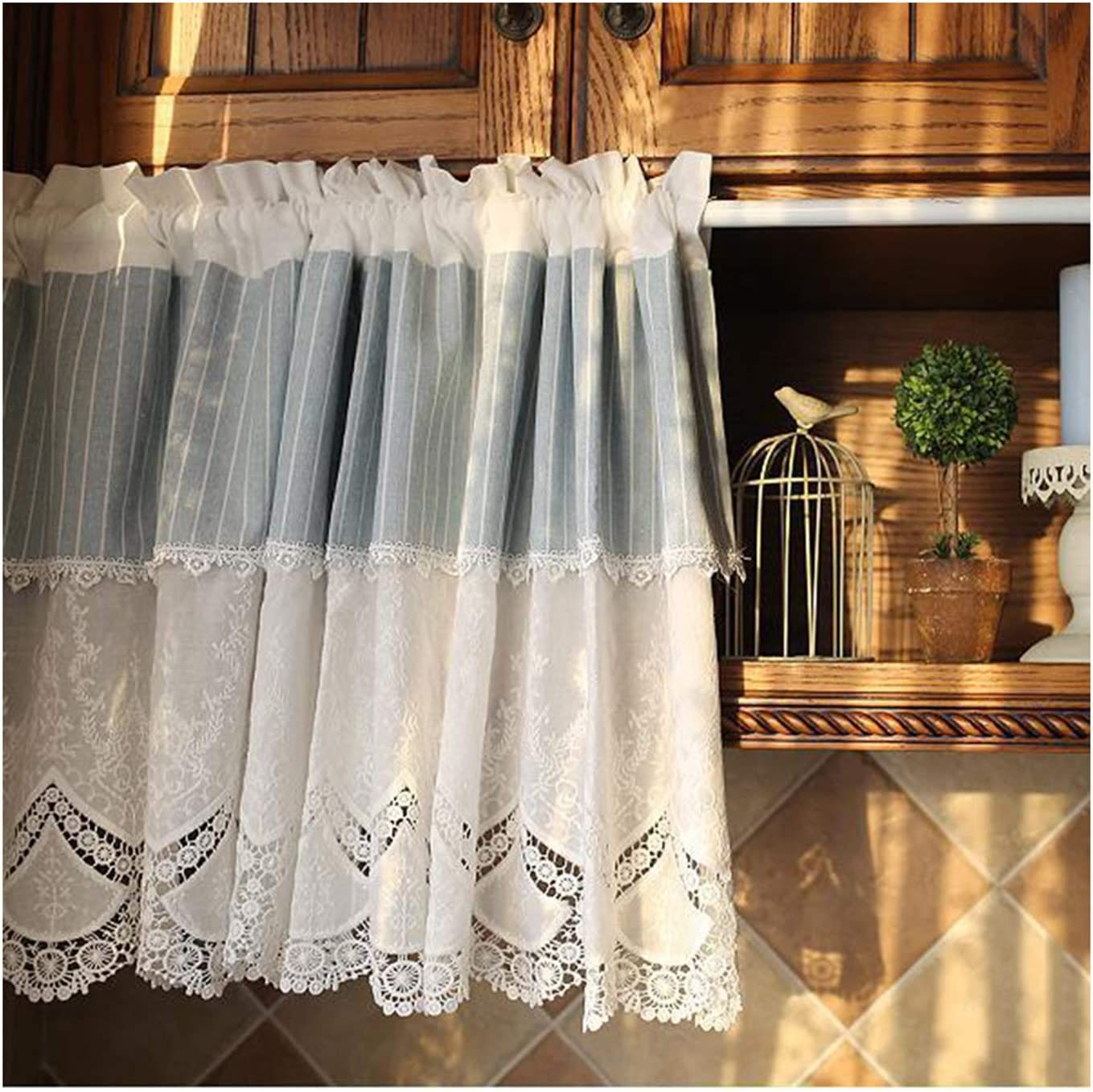 F-XW 21 45in Kitchen Tier Sale price Embroidery Limited time sale Cotton Curt Small Curtains