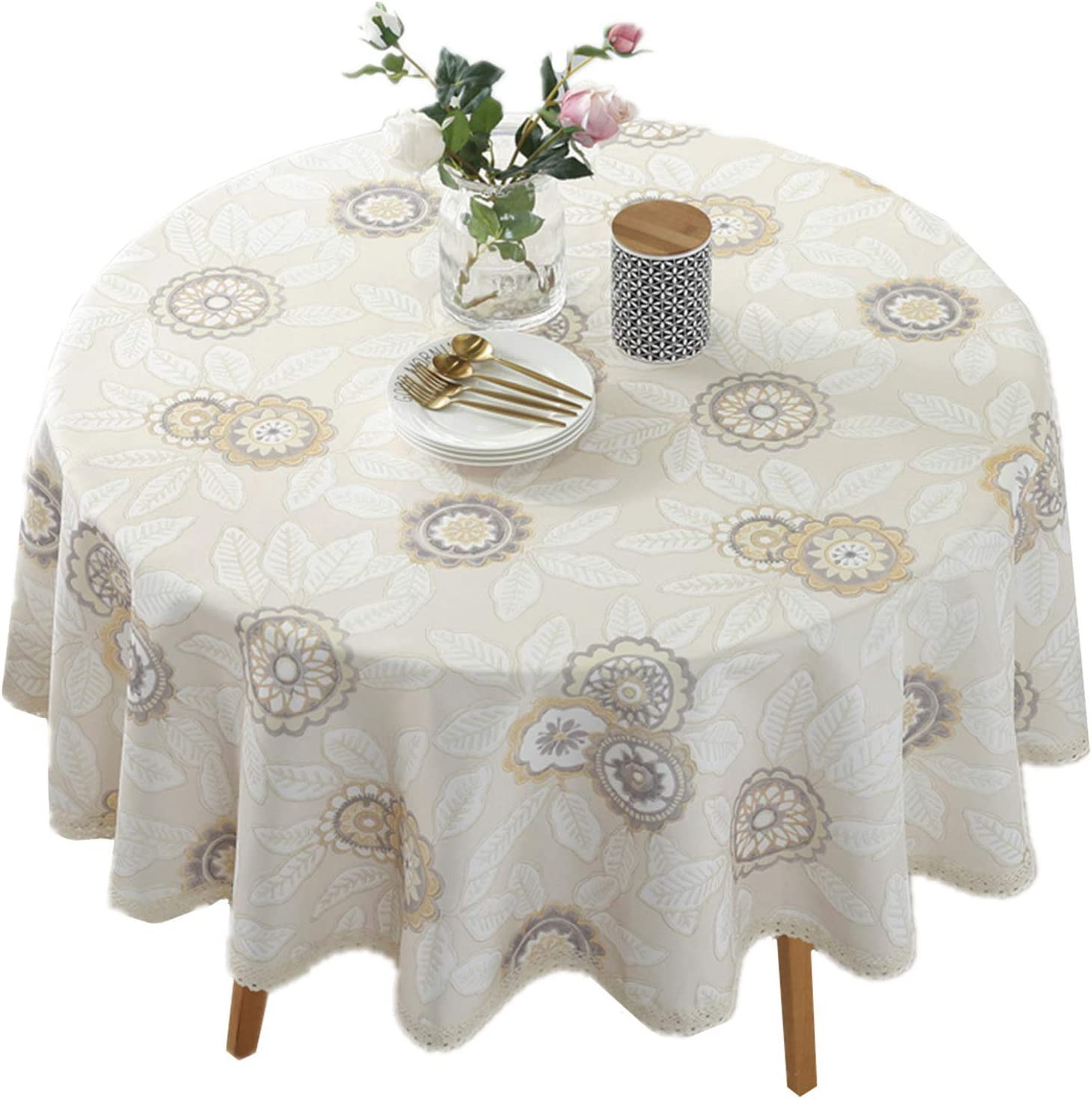 Heavy Duty Elegant Printed Tablecloth   Spillproof Fabric Lace Table Cloth    Round Table Cover for Dining Room Kitchen Home Decor  9