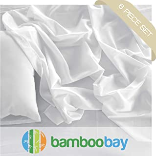 Bamboo Bay 100% Viscose from Bamboo Sheets - Hypoallergenic and Organic 6-Piece Bamboo Sheet Set - Extra Deep Pocket, No-Slip Fitted Sheet - Soft, Cool, and Durable (Queen, Ivory)