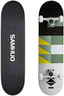 """SAMHUO Skateboards 31''X 8"""" Pro Complete Skateboard 7 Layer Canadian Maple Skateboard Deck for Extreme Sports and Outdoors"""