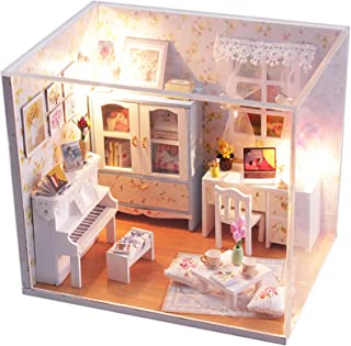 WADILE Dollhouses Wooden DIY Toys Kits Model Handmade Creative Gift Furniture Realistic and Suitable for Children Over 14 Years Old Or with The Help of Adults (5.75in4.13in4in, M011)