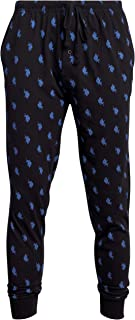 U.S. Polo Assn. Mens' Knit Jogger Lounge Pajama Pants with Fly and Drawstring Waist, Size Large, Blue Maritime