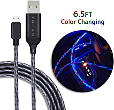 Micro USB Cable Android Charger, TOHAO 6ft LED Color Changing Flowing Light UP Sync and Fast Charging Cord for Samsung Galaxy S7/S6/J7, LG, HTC, Sony, Moto, Kindle, PS4 and More