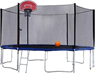 Exacme Round Trampoline 8 10 12 13 14 15 16 Foot with Basketball Hoop and Enclosure Safety Pad Ladder,Orange