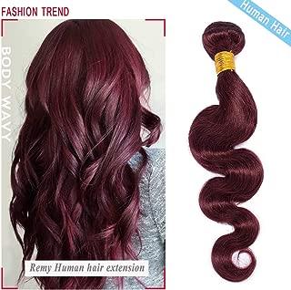 S-noilite Brazilian Body Wave Human Hair Bundle Unprocessed Body Wavy Remy Human Hair Bundle for Women #99J Wine Red 1 Bundle Total 20Inch 100g/3.5oz Body Curly Human Hair Extension