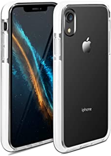 iPhone XR Case Clear Anti-Scratch Anti-Slippery Transparent Shockproof Ultra Hybrid Bumper Protective Case Cover Compatible with iPhone XR 6.1in-2018 (White)
