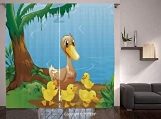 Thermal Insulated Blackout Window Curtain [ Kids,Illustration of Cute Duck and Her Ducklings at Riverbank Tree and Grass Cartoon Style,Multicolor ] for Living Room Bedroom Dorm Room Classroom Kitchen