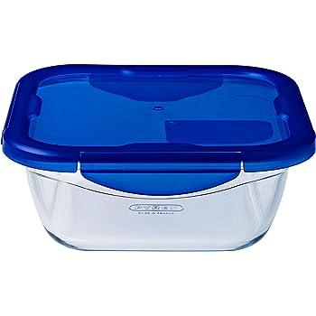 Pyrex Cook & Go - Recipiente rectangular de vidrio con tapa 100 % hermética, para contener alimentos, apto para horno y microondas, 20 x 15 cm, capacidad de 0,8 l: Amazon.es: Hogar