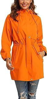 Rain Jacket Women Waterproof Hooded Raincoat Active Outdoor Windbreaker Trench Coat