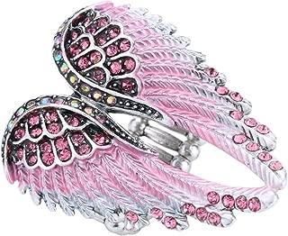 Jewelry Women's Crystal Angel Wings Guardian Stretch Rings Biker Jewelry