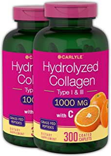 Hydrolyzed Collagen Peptides | 1000 mg | 600 Caplets | Type 1 and 3 with Vitamin C | Grass Fed, Non-GMO, Gluten Free Pill Supplement | by Carlyle