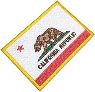 BIN193T California Republic Flag Emblem Tag 100% Embroidered Patch Iron or Sew Size 3.15×2.16 in