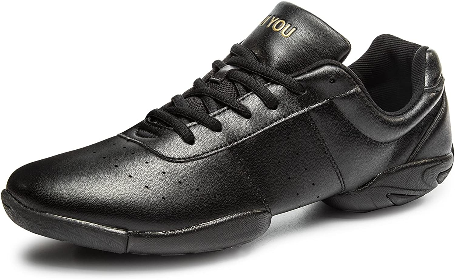 ABDVOOD Womens Fitness Jazz Dance shoes Leather Upper Ballroom Modern Dancing Sneaker by