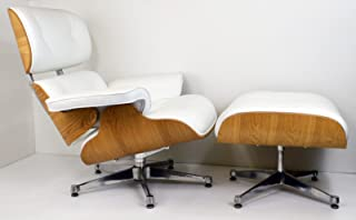 Mid Century Modern Classic Ash Wood Plywood Lounge Chair & Ottoman With White Premium Top Grain Leather Eames Style Replica