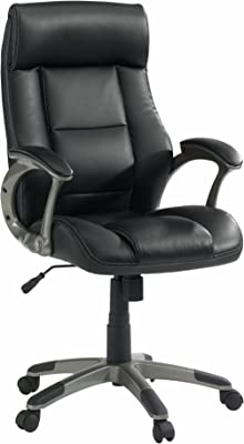 Sauder Gruga Leather Managers Chair, Black finish