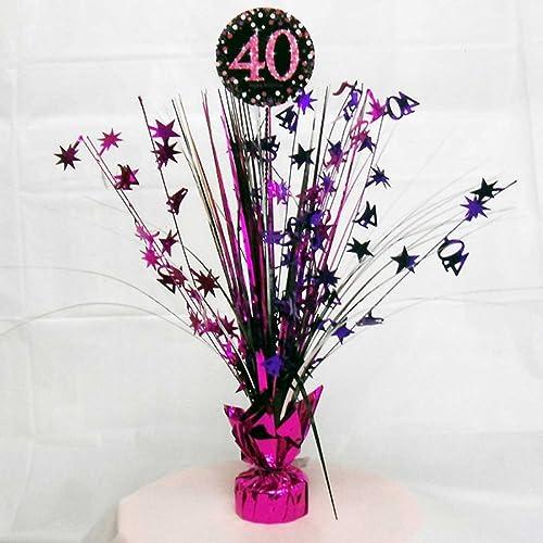 40th Birthday Spray Centrepiece Table Decoration Black Pink Purple