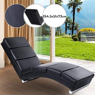 MIADOMODO Relaxliege - ergonomisch, gepolstert, 154x51x73cm, Kunstleder, Schwarz - Liegestuhl, Relaxsessel, Chaiselongue, Loungesessel, Sesselliege, Sofaliege, Polsterliege