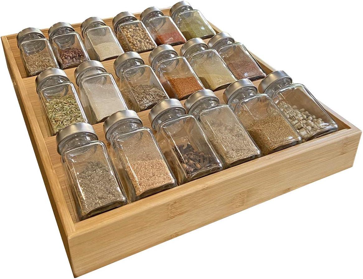Simhoo - Estantería de bambú para especias con bandeja biselada para botellas, cajón de cocina, adecuado para el comedor, madera, large