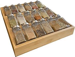 Simhoo Kruidenrek van bamboe, kruidenhouder voor laden, kruidenschaal, afgeschuinde opbergdoos voor kruidenflessen, geschi...