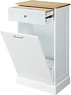 Seven Oaks Tilt Out Free Standing Kitchen Trash or Recycling Cabinet with Drawer, Removable Bamboo Cutting Board (White)