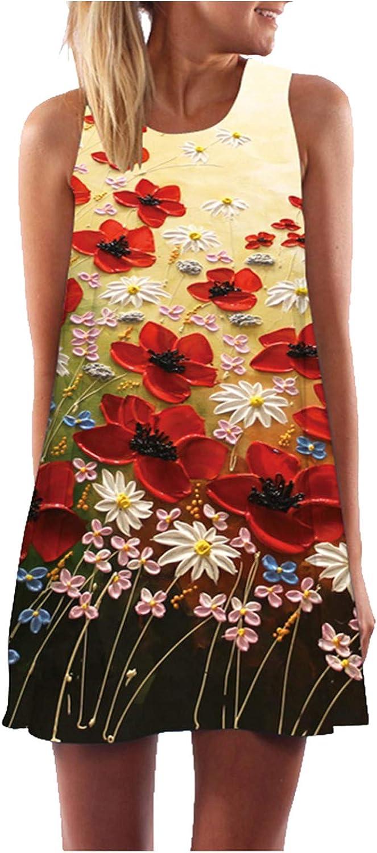 Women Summer Floral Print O-Neck Loose Casual Sleeveless T Shirt Beach Above Knee Tank Dress