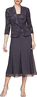 Alex Evenings Women's Tea Length Button-Front Jacket Dress