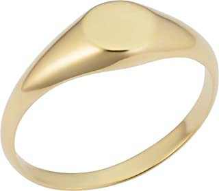 KoolJewelry 14k Yellow Gold 7 mm Round Signet Ring for Men and Women, Size 4-8