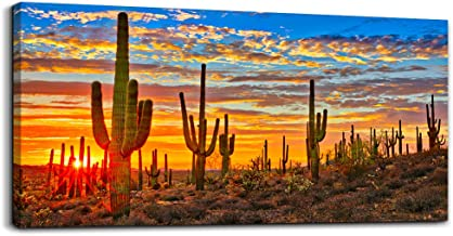 Canvas Wall Art for Living Room Cactus Plant Landscape Painting Bathroom Wall Decor Ready to Hang Home Decorations Bedroom Kitchen Inspirational Canvas Prints Posters Painting Wall Mural Artwork