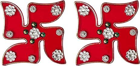 Aheli Handcrafted Auspicious Hindu Symbols Stone Studded Swastik Sticker Home Wall Door Indian Traditional Diwali Decoration