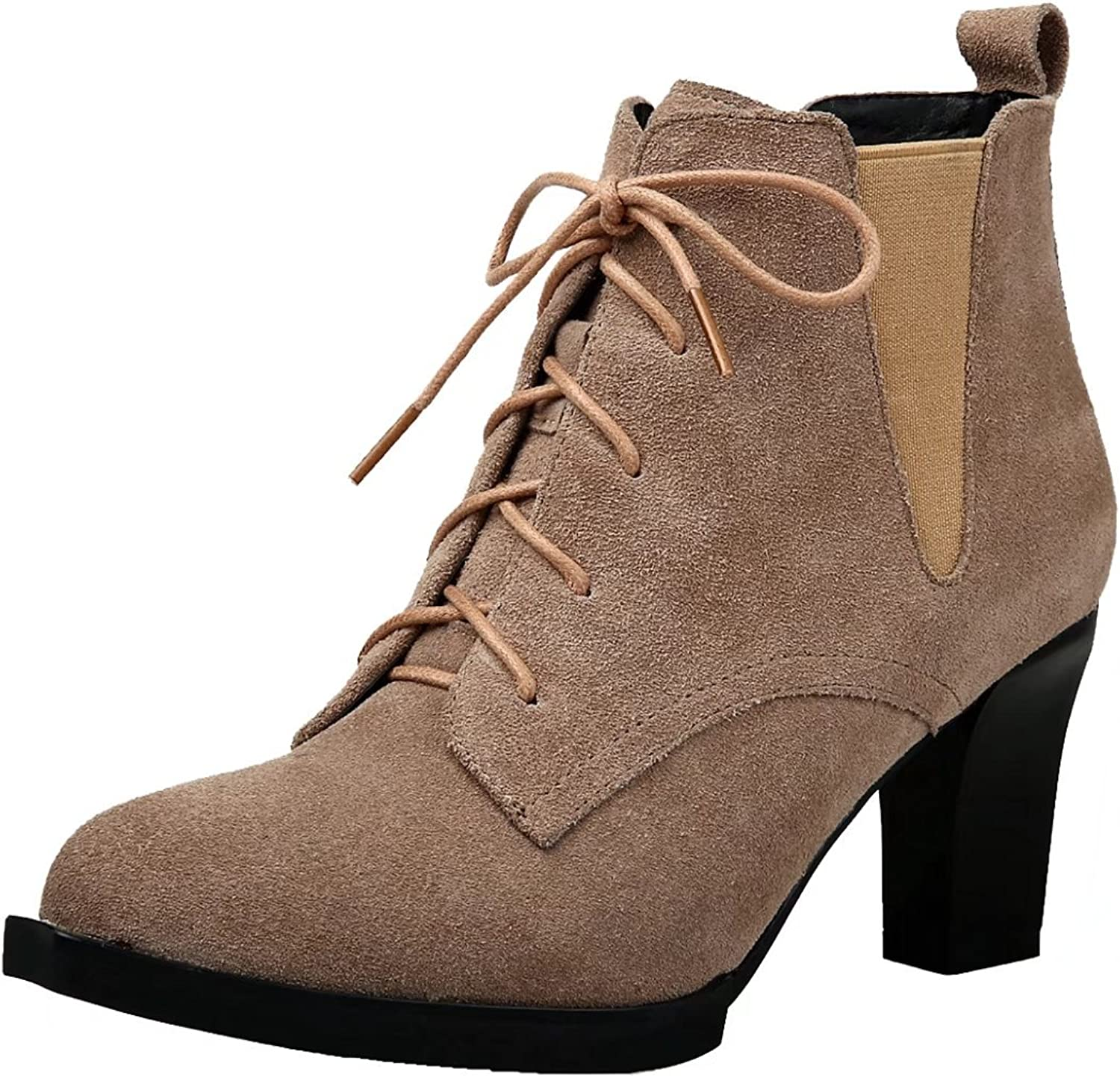 AIYOUMEI Women's Lace-up Block Heel Solid Booties Autumn Winter Ankle Boots