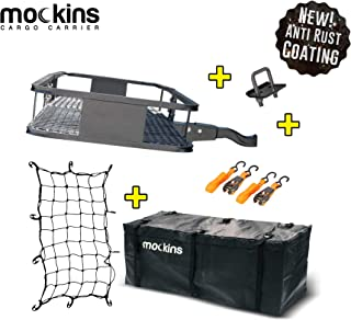 """Best Mockins Steel Cargo Basket   60"""" L X 20"""" W X 6"""" H Hitch Mount Cargo Carrier with Cargo Bag and Net   with a Hauling Weight of 500 lbs & a Folding Shank to Preserve Space When Not in Use Review"""
