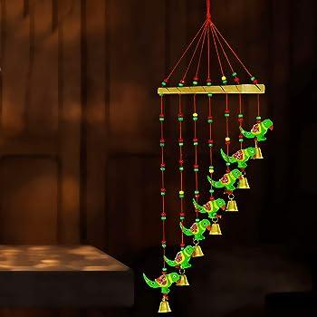 DreamKraft Handcrafted Parrot Door Hanging Wood Windchime (77 cm, Multicolor)