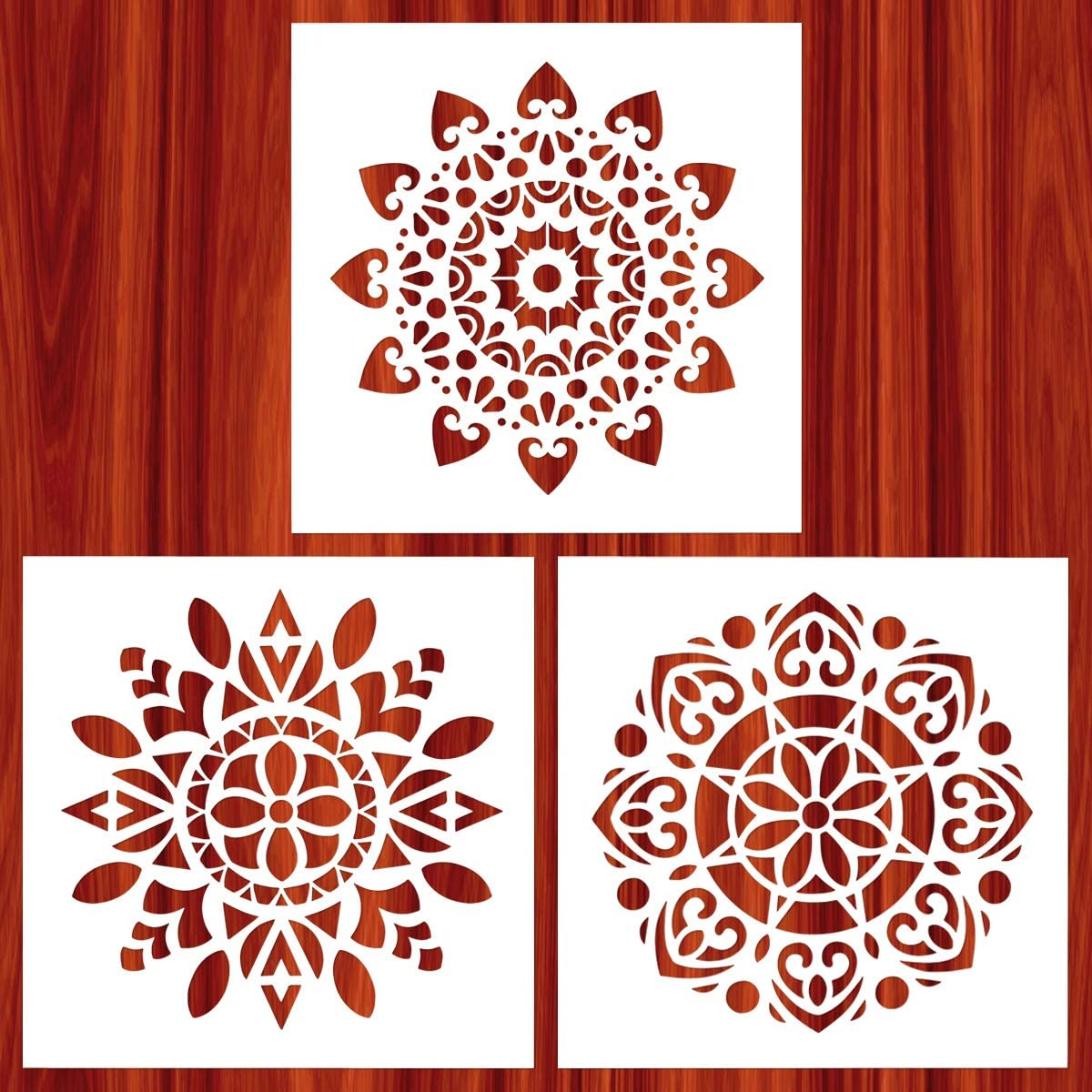 AK KYC Stencils Mandala Painting Stencil Stencils for Painting (12x12 inch Large Size) on Wood Wall Floor Tile Fabric Furniture Decor Mandala Dotting Tools Reusable, Style 1