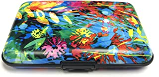 Fig Design Group Layered Colorful Flower RFID Secure Theft Protection Credit Card Armored Wallet