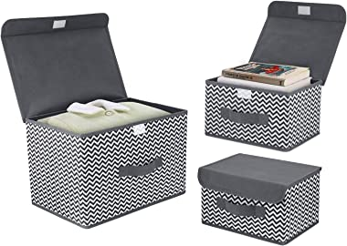 DIMJ 3Pcs Fabric Storage Bins & Storage Box with Flip-top Lid, Collapsible Large Basket Boxes for Books, Clothes, Toys Cu